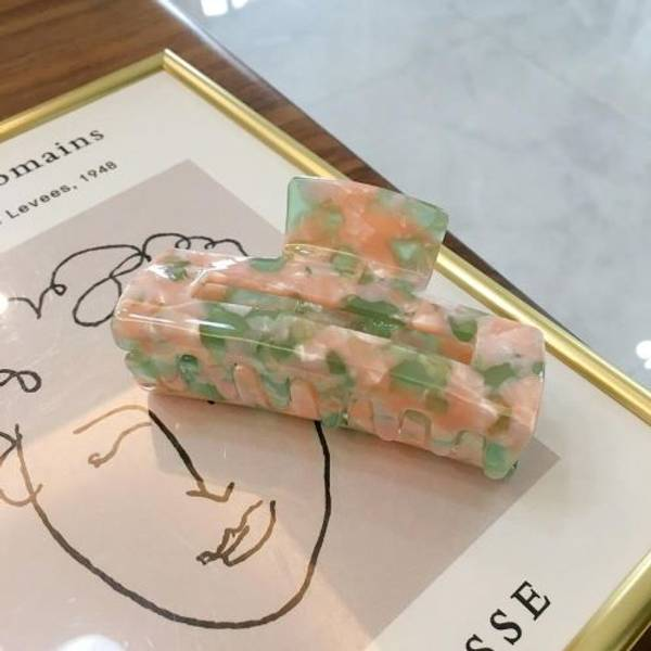 Hårklype marmor grønn rosa